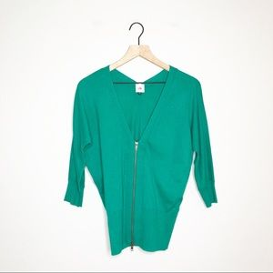 CAbi Green Banner Zip Front Cardigan Small